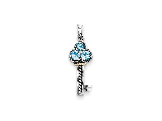 Sterling Silver Vintage w/ 14k Gold-Plated .31Blue Topaz Antiqued Key Charm. Gem Wt- 0.31ct (1IN long x 0.4IN wide)