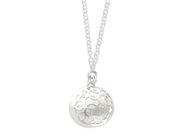 Sterling Silver Polished & Satin Fancy Circle Drop Necklace. 17in long.