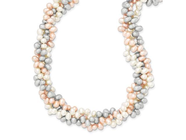 Sterling Silver 18in Tri-Color Freshwater Cultured Pearl Rice Pearl Necklace.