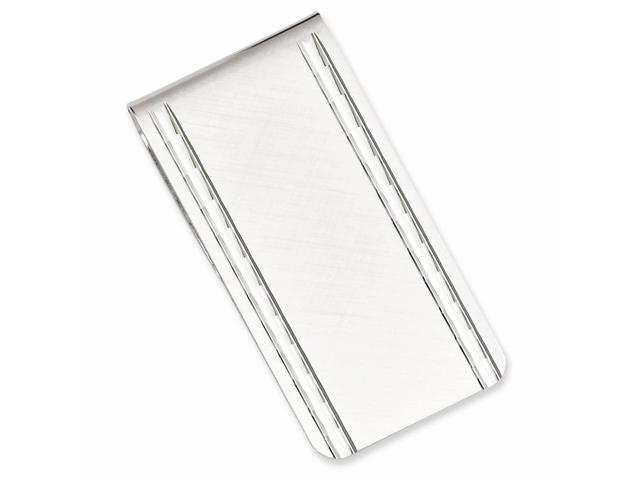 Rhodium Plated Stainless Steel Florentine Satin Hinged Engravable Money Clip