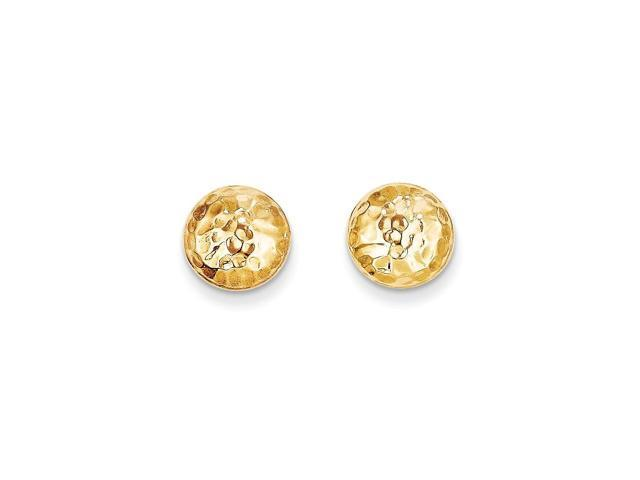 14k Yellow Gold Childs Puffed Round Post Earrings w/ Gift Box. (9MM)