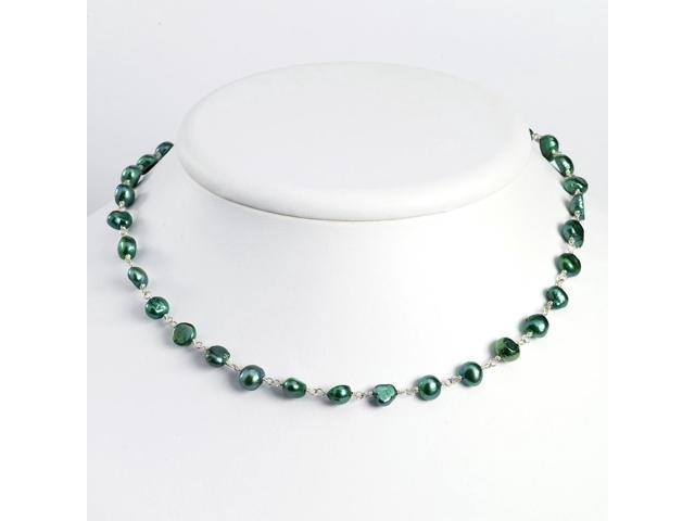 Sterling Silver 16in Green Freshwater Cultured Pearl Necklace