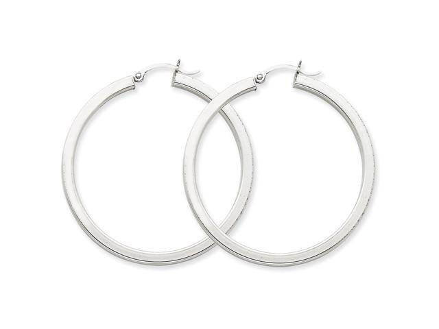 14k White Gold 3mm Polished Square Tube Hoop Earrings. 45mm Diameter.