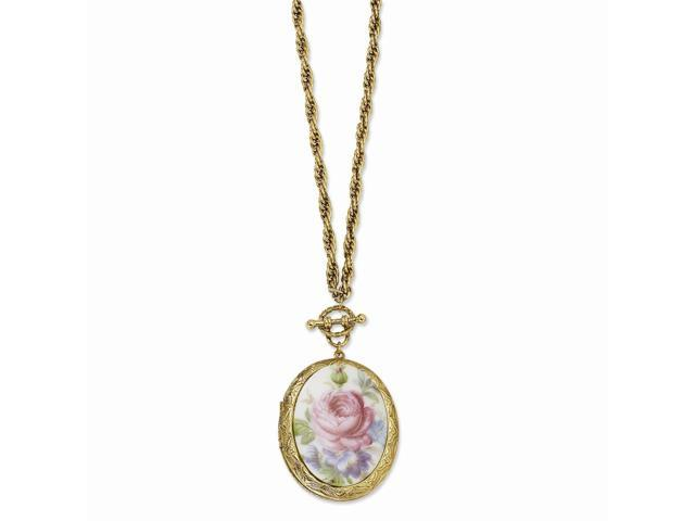 14k Gold Plated Pink Flower Decal Locket 30