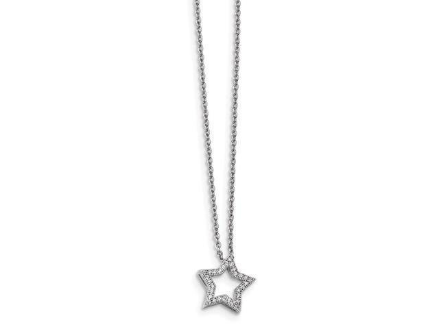 Sterling Silver Rhodium Plated & Synthetic CZ Embers Star 18in Necklace