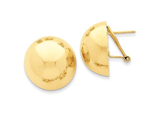 14k Yellow Gold Polished Half Ball Omega Back Post Earrings (0.7IN x 0.7IN )