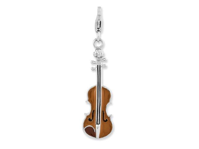 Sterling Silver Enameled 3-D Viola with Lobster Clasp Charm (1.1IN long x 0.4IN wide)