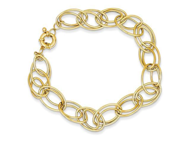 14k Yellow Gold 7.5in Fancy Oval Link Bracelet