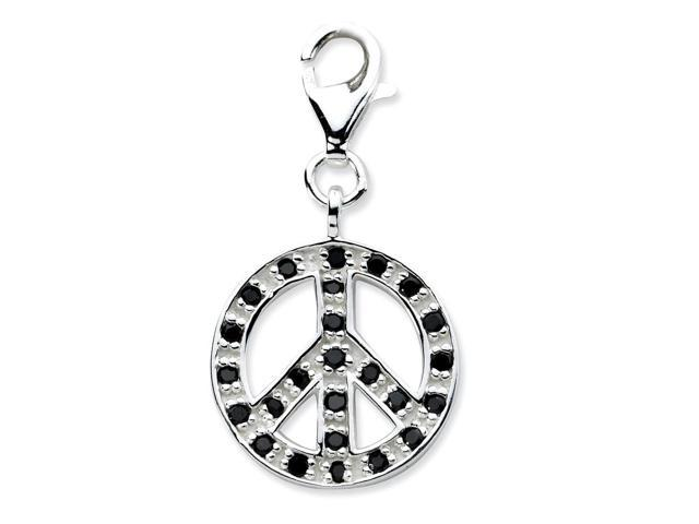 Sterling Silver Rhodium Plated Polished Click-on Synthetic CZ Polished Peace Charm (1.1IN long x 0.5IN wide)
