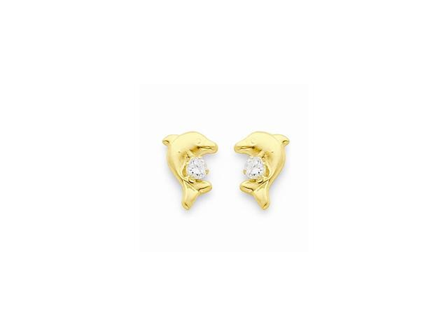 14k Yellow Gold Childs Dolphin w/ Synthetic CZ Post Earrings w/ Gift Box (10MM Long x 8MM Wide)
