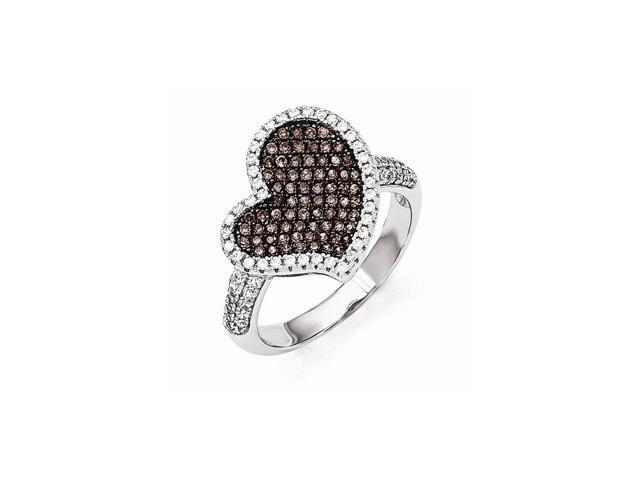 Sterling Silver Rhodium Plated Polished & Synthetic CZ Embers Heart Ring