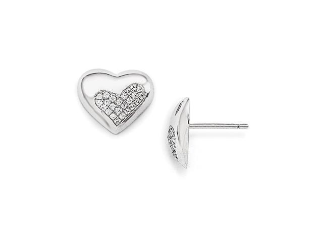 Sterling Silver Rhodium Plated & Synthetic CZ Embers Heart Post Earrings (10MM Long x 12MM Wide)