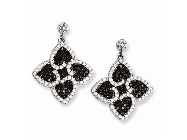 Sterling Silver & Synthetic CZ Embers Hearts Dangle Post Earrings