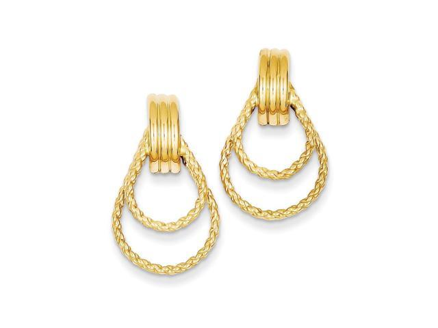 14k Yellow Gold Polished & Twisted Fancy Post Earrings (1IN x 0.5IN )