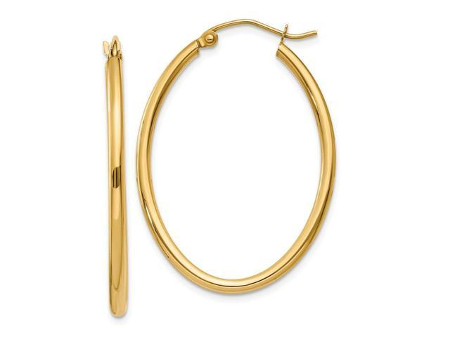 14k Yellow Gold Oval Polished Hoop Earring. Length 37mm x Width 25mm.