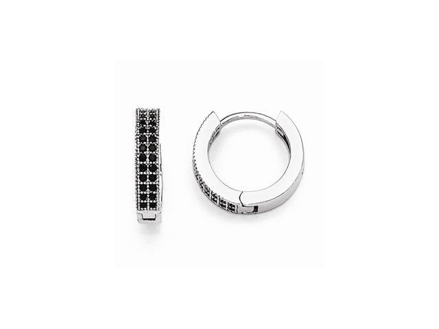 Sterling Silver Rhodium Plated & Black Synthetic CZ Brilliant Embers 0.4IN Hoop Earrings (0.5IN x 0.4IN )