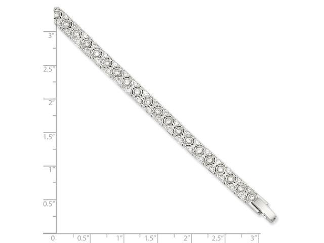 7.25in Rhodium-plated Synthetic CZ Bracelet. Lovely Leatherrete Gift Box Included