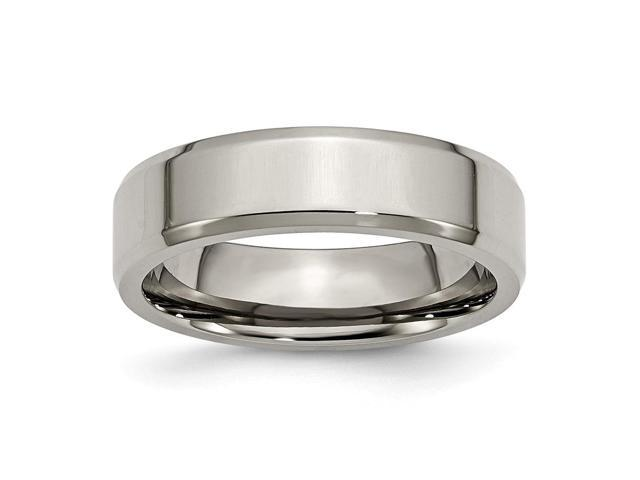 Titanium Beveled Edge 6mm Polished Engravable Band