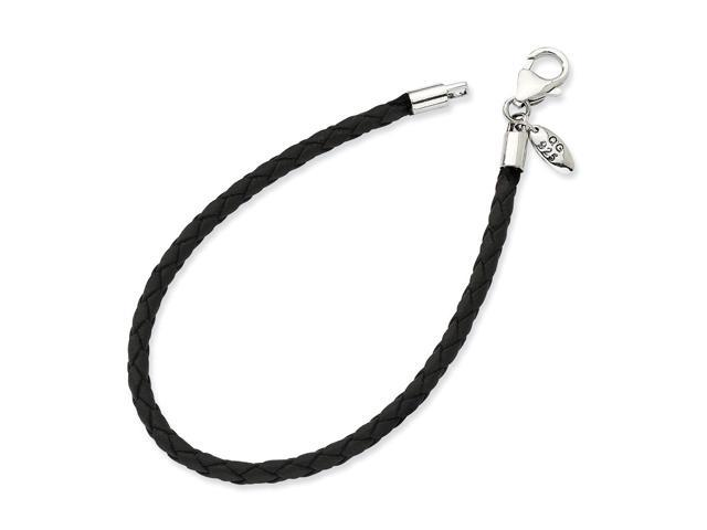 Sterling Silver Reflections Black Leather Bead Bracelet- 7.5inches