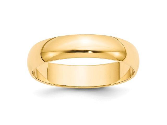14k Yellow Gold Engravable 5mm Lightweight Half-Round Band