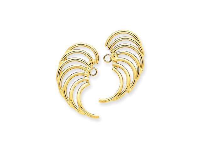 14k Yellow Gold Polished Swirl Shaped Earrings Jackets (0.8IN x 0.5IN )