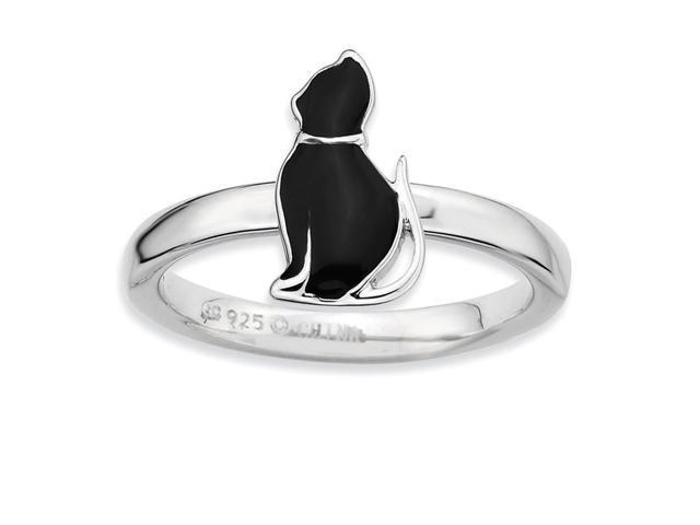 Superstar 925 Sterling Silver Rhodium Plated Black Enamel Cat Stackable Ring Band