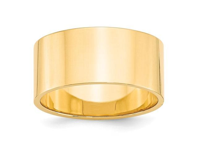 14k Yellow Gold Engravable 10mm Flat Wedding Band
