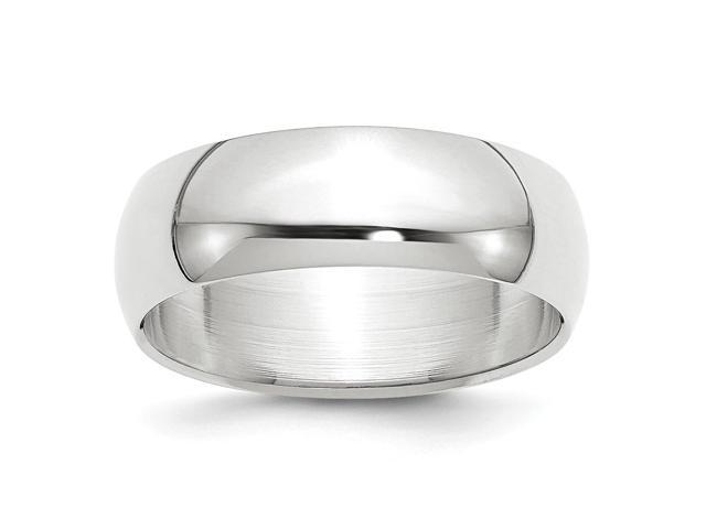 14k White Gold Engravable 7mm Half-Round Band