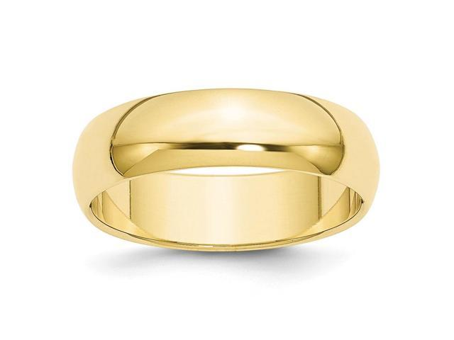 10K Yellow Gold 6mm Engravable Half-Round Band