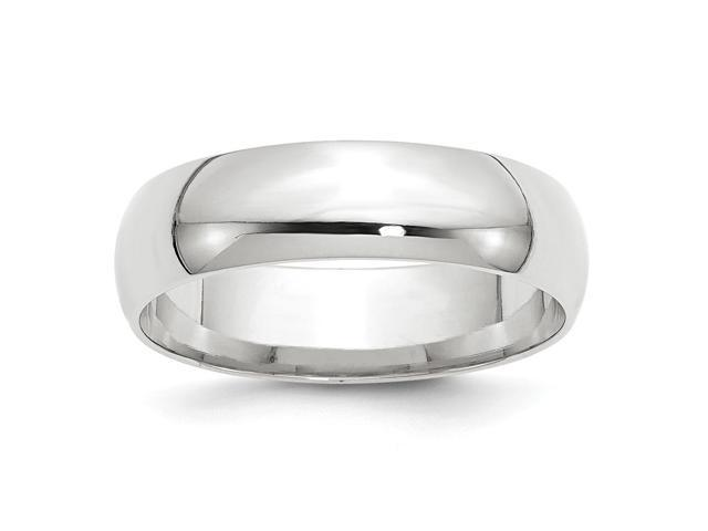 14k White Gold Engravable 6mm Comfort Fit Lightweight Band