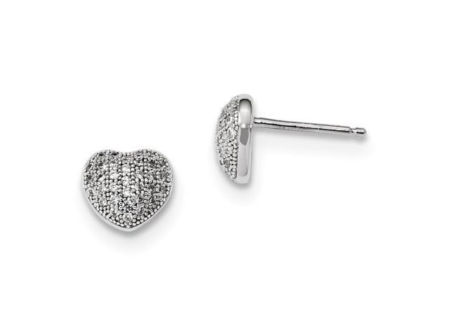 Sterling Silver Rhodium Plated & Synthetic CZ Embers Polished Heart Post Earrings (7MM)