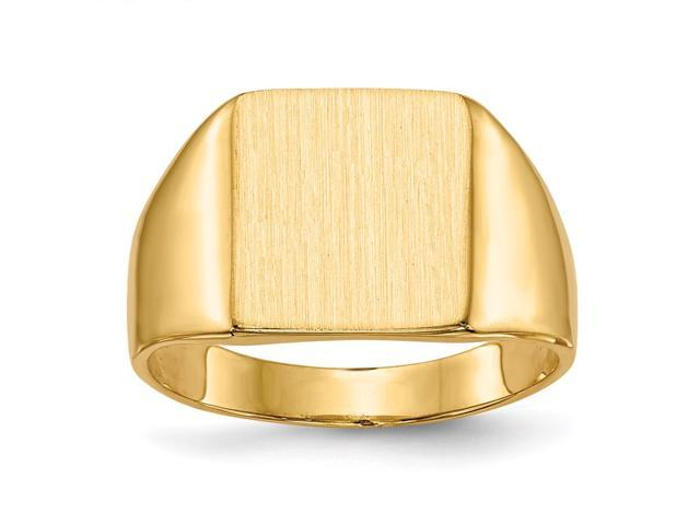 14k Yellow Gold Engravable Signet Ring (11.4mm x 10.2mm face)