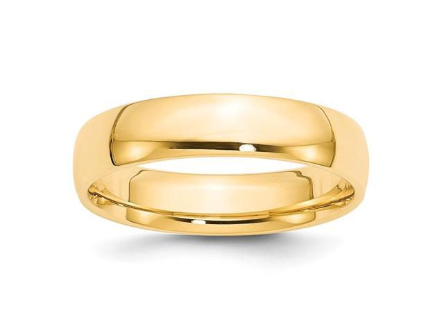14k Yellow Gold Engravable 5mm Light-Weight Comfort-Fit Wedding Band