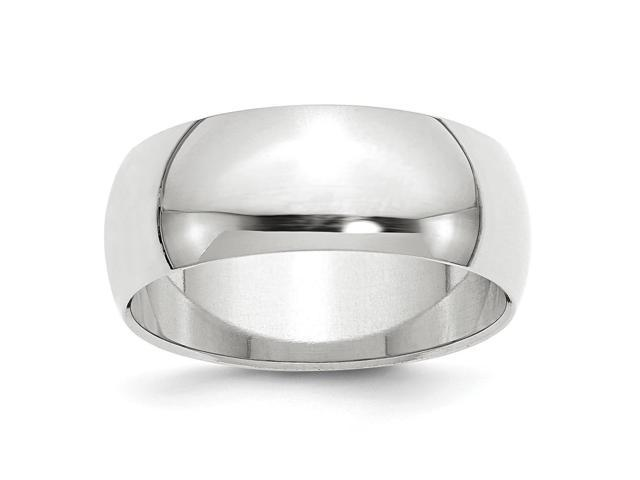 14k White Gold Engravable 8mm Half-Round Band