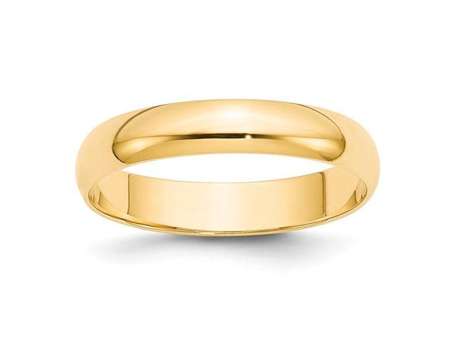14k Yellow Gold Engravable 4mm Lightweight Half-Round Band