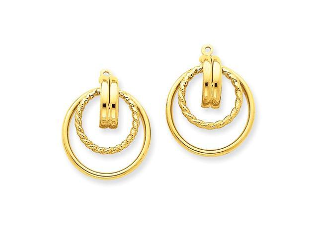 14k Yellow Gold Polished & Twisted Fancy Earrings Jackets (0.8IN x 0.6IN )