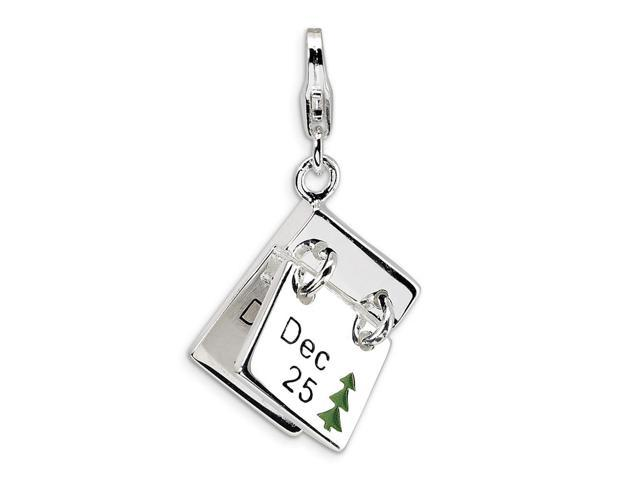Sterling Silver Rhodium Plated 3-D Enameled Dec. 25 and Dec. 26 with Lobster Clasp Charm (0.7in)