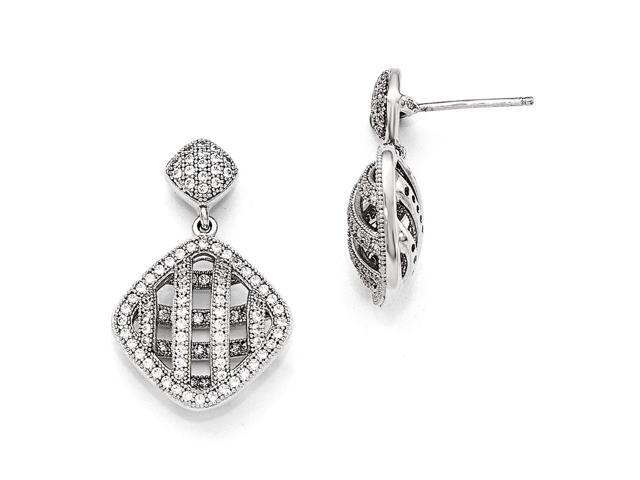 Sterling Silver Rhodium Plated & Synthetic CZ Brilliant Embers Polished Dangle Post Earrings (0.9IN x 0.6IN )