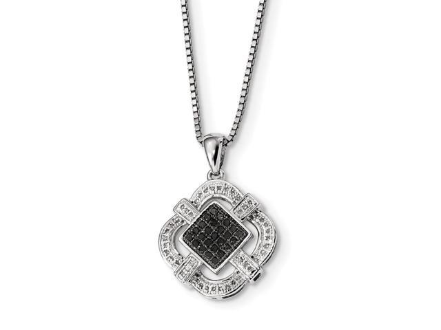 Sterling Silver Rhodium Plated Black & White Diamond Pendant. Total Carat Weight- 0.318ct.