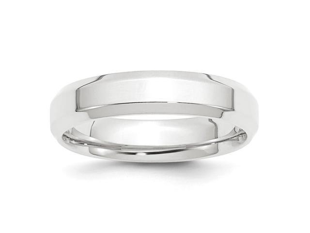 950 Platinum 5mm Polished Beveled Edge Wedding Engravable Band