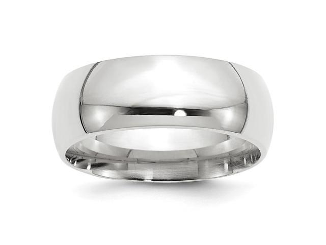 14k White Gold Engravable 8mm Comfort-Fit Band