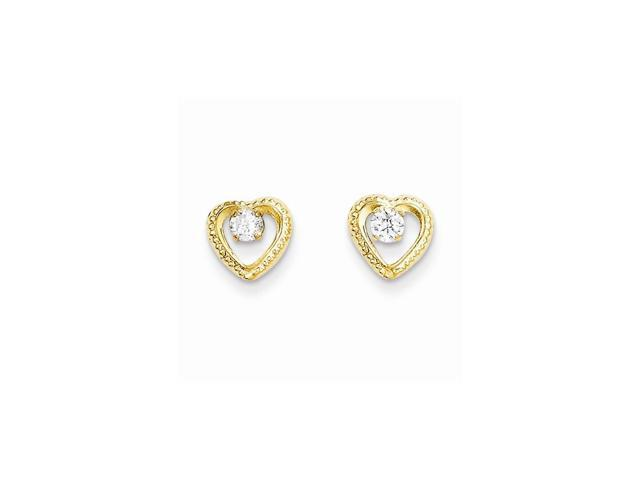 14k Yellow Gold Childs Heart w/ Synthetic CZ Post Earrings w/ Gift Box (8MM)