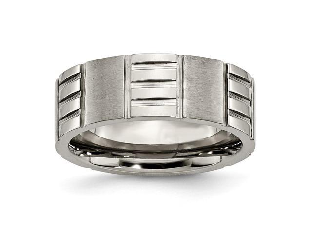 Titanium Notched 8mm Satin & Polished Engravable Band