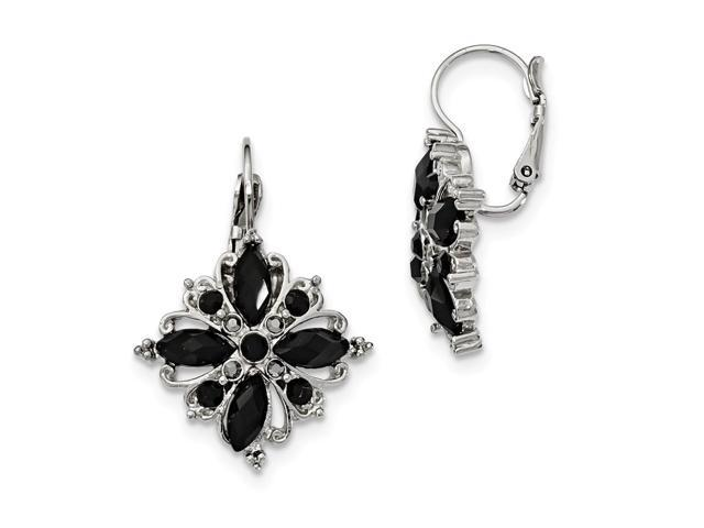 Silvertone Black Crystal Flower Leverback Earrings
