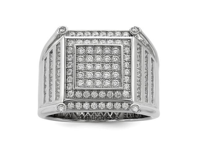 Sterling Silver Rhodium Plated Polished & Synthetic CZ Embers Men's Ring