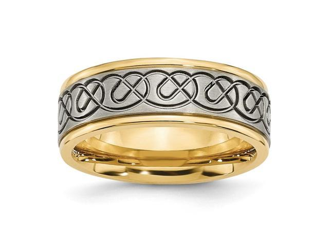 Titanium 8mm Design & 14k Gold Plated Engravable Grooved Edge Ring