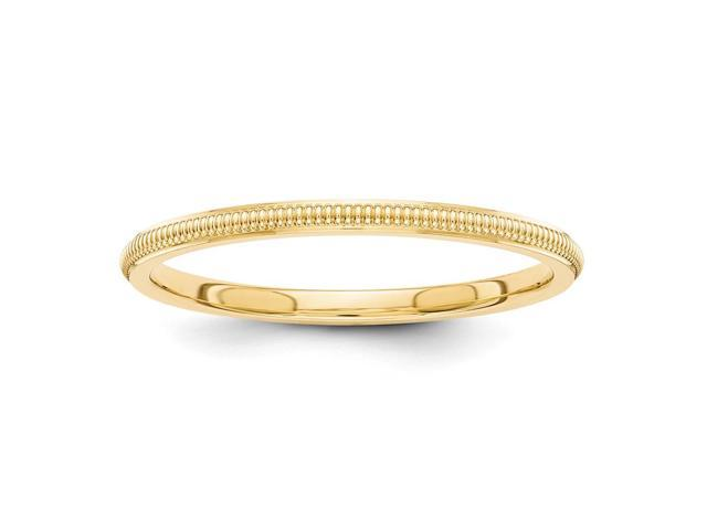 14k Yellow Gold 1.5mm Milgrain Band