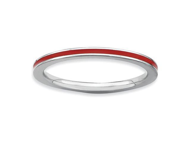 Captivating 925 Sterling Silver Rhodium Plated Stackable Red Enamel Ring