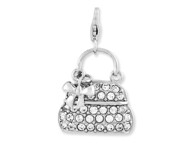 Sterling Silver Enameled 3-D Purse with Lobster Clasp Charm (0.8in)