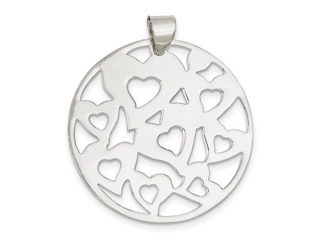 Sterling Silver Fits up to 6.00mm Round Cut-Out Hearts Pendant